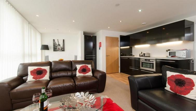 Elegant living area in Marsh House Apartments