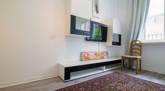 Seating area at Burgplatz Apartment, Altstadt, Dusseldorf