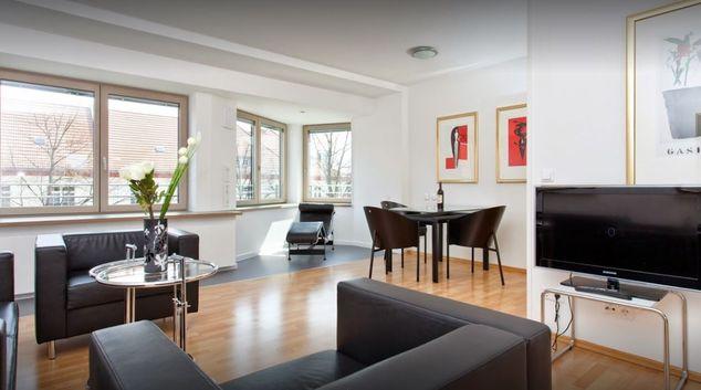 Living room at Burgemeisters Senior Apartment, New Tempelhof, Berlin