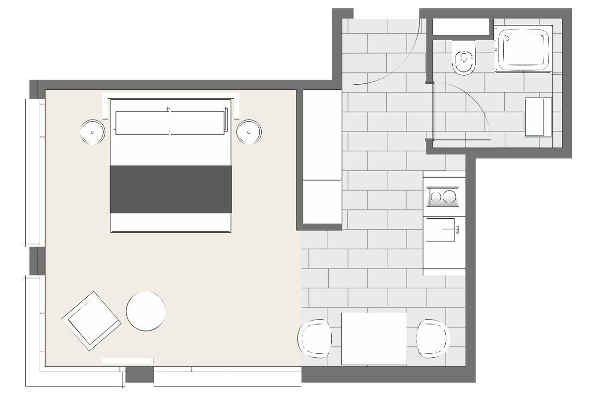 Floor plan at Lilli Apartment, Schwanthalerhohe, Munich