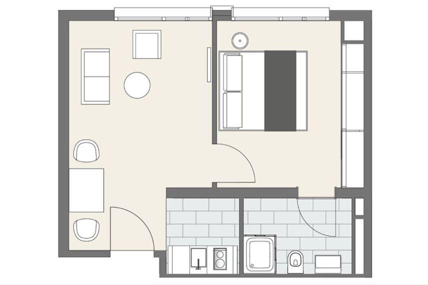 1 bed floor plan at Lilli Apartment, Schwanthalerhohe, Munich