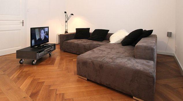 Living room at East Basel Apartments, Kannenfeld, Basel
