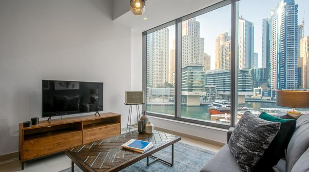 TV at Silverene Apartment X, Dubai Marina, Dubai