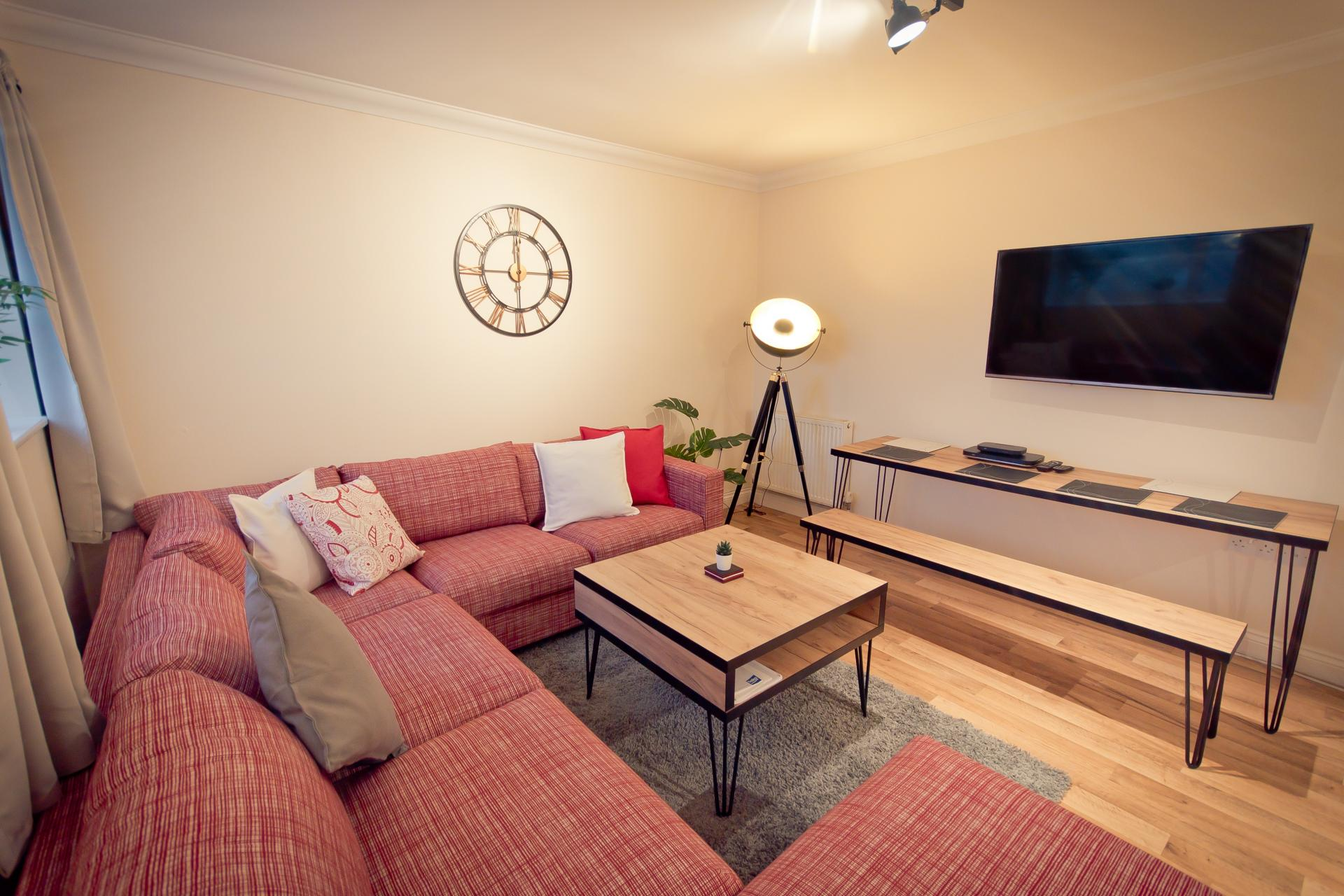 Sofa area at City Point Apartments, Mutley, Plymouth