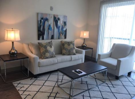 Living room at Gallery at Domain Apartment, Round Rock, Austin
