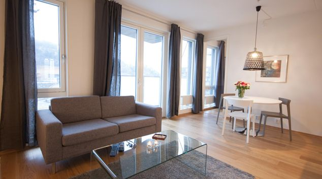 Living room at Sørenga Apartments, Sørenga, Oslo