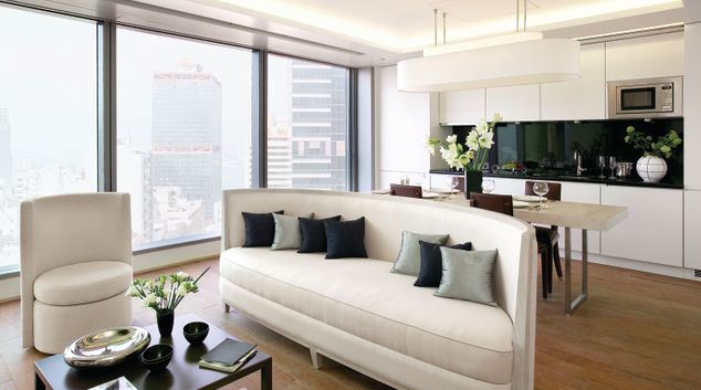 Living area at The Putman Apartments, Central, Hong Kong