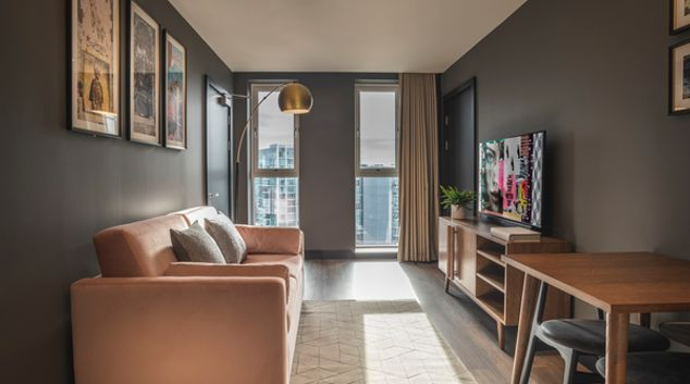 Living area at The Gate Apartments, Whitechapel, London