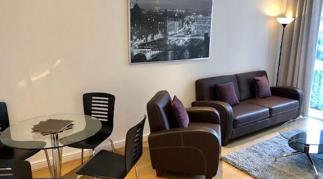 Living area at Elmhurst Court Apartments, Centre, Camberley