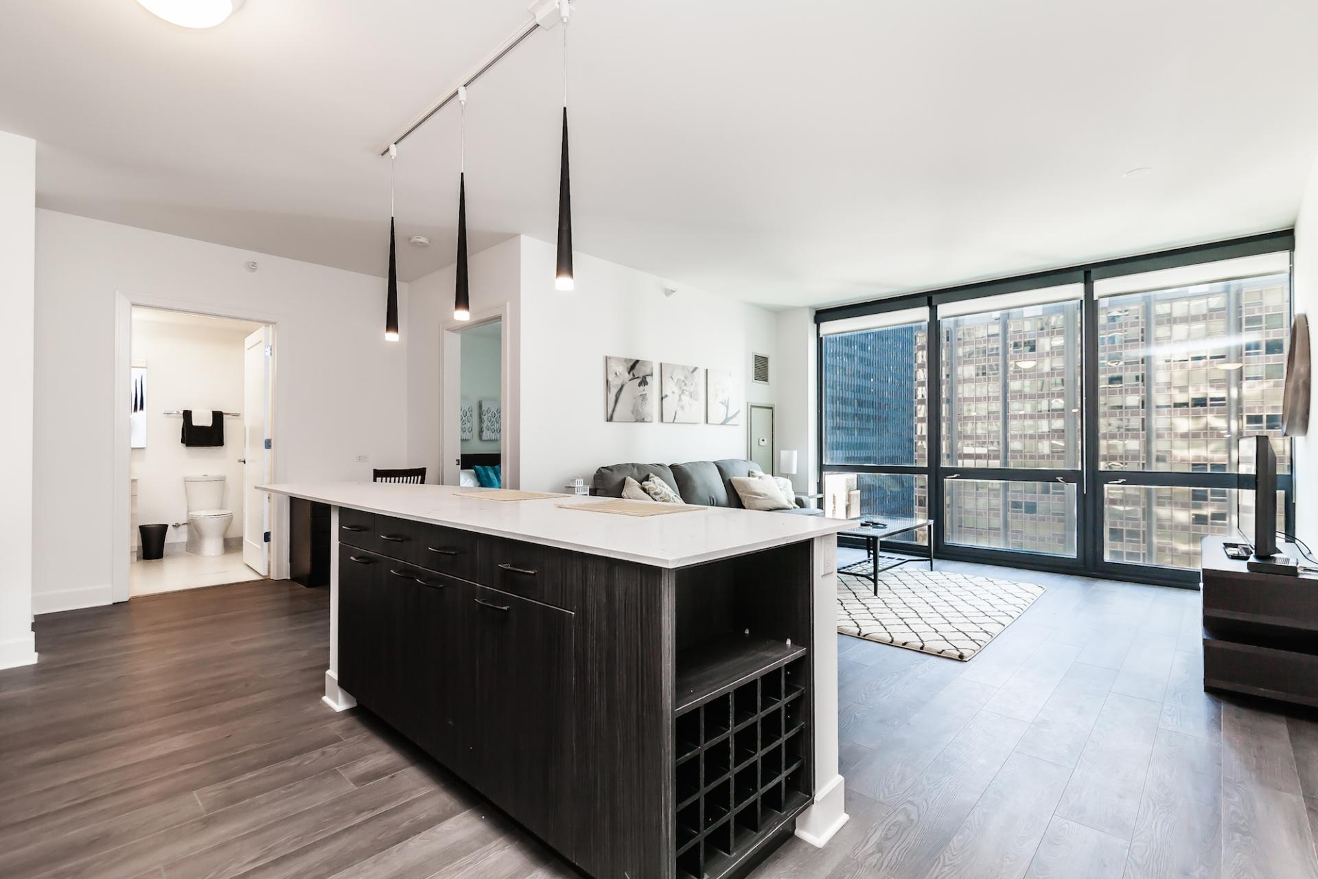 Bright living space at 73 Lake Apartments, New East Side, Chicago