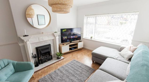 Living area at Oxford Road House, Wake Green, Birmingham
