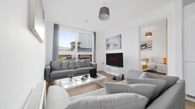 Living area at Scotland Street Apartment, Ladywood, Birmingham