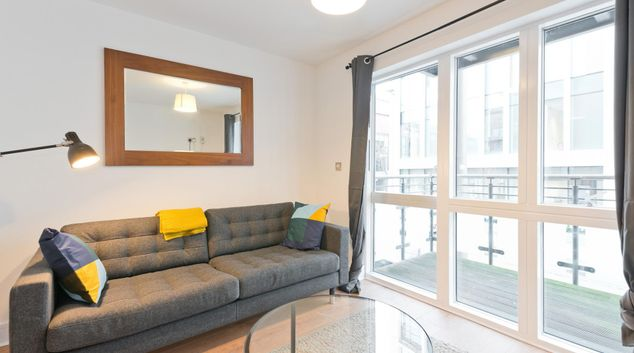 Living area at Longboat Quay Apartment, Grand Canal Dock, Dublin