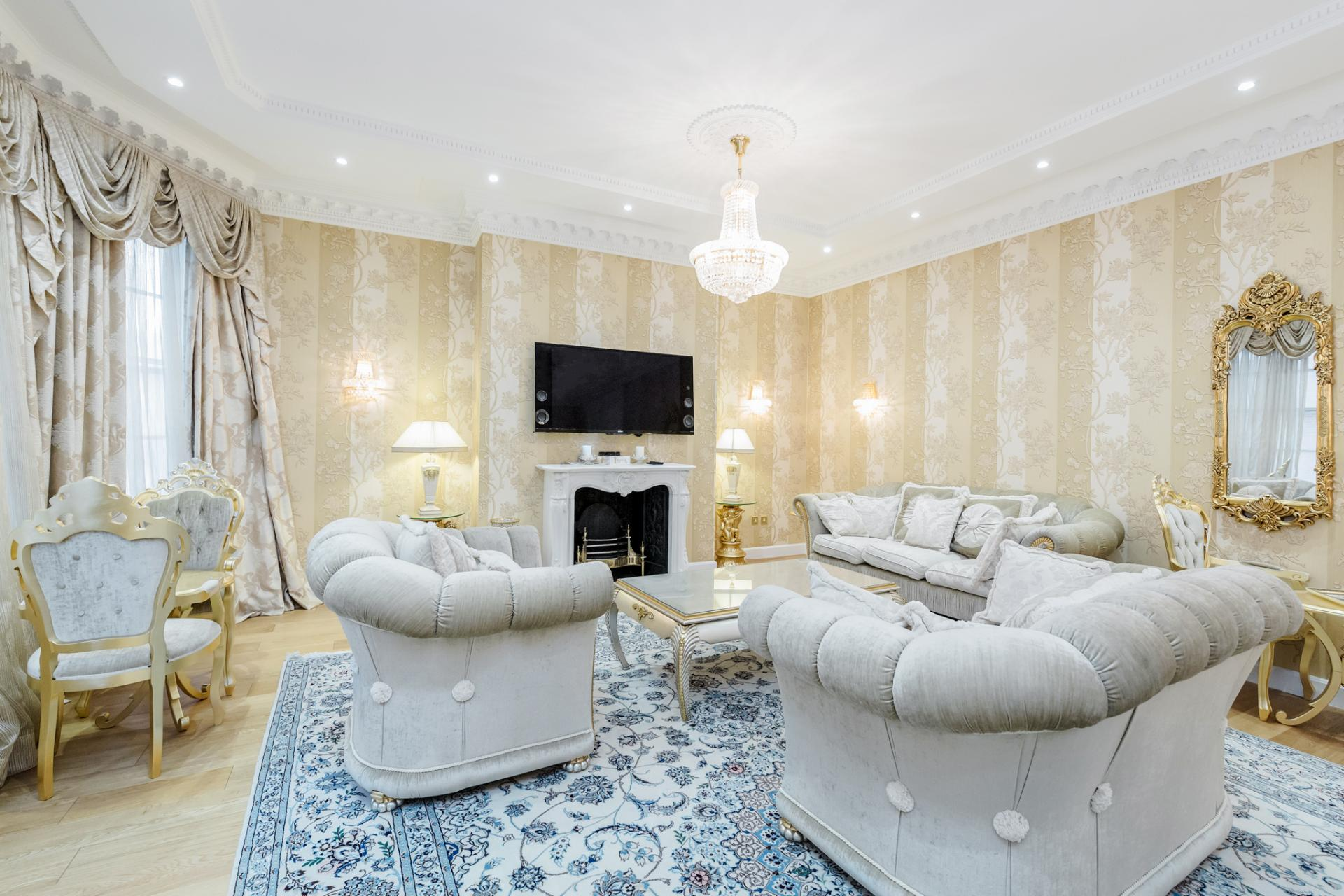 Living room at Grosvenor Square Apartment, Mayfair, London