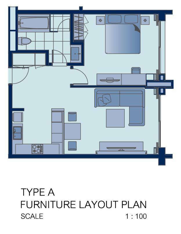 1 bed floor plan at Shama Sukhumvit Apartments, Din Daeng, Bangkok