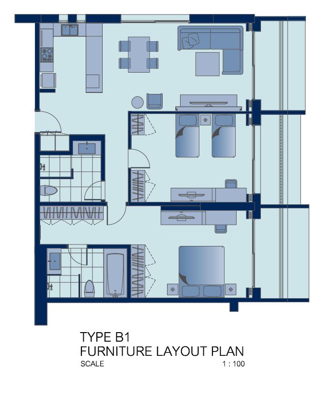 2 bed floor plan at Shama Sukhumvit Apartments, Din Daeng, Bangkok