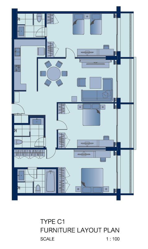 3 bed floor plan at Shama Sukhumvit Apartments, Din Daeng, Bangkok