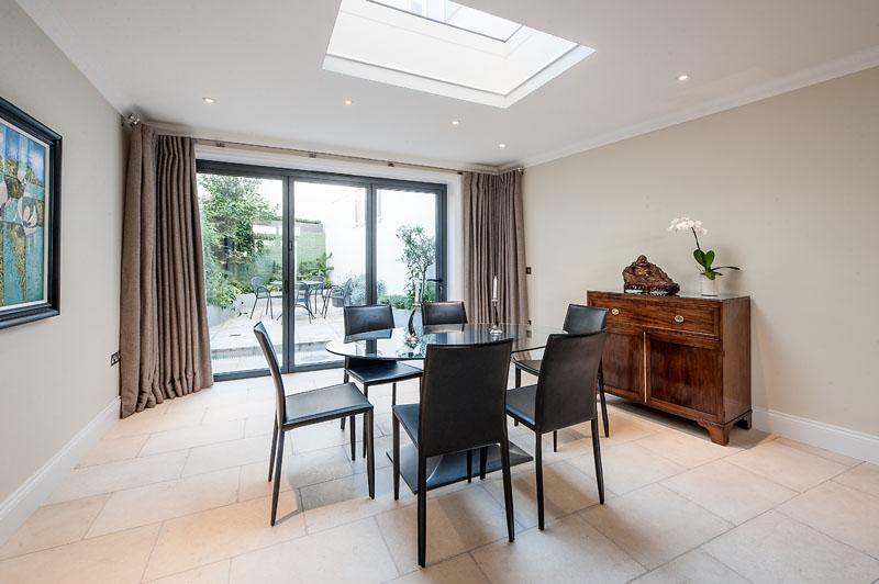 Dining table at Cornwall Gardens Apartment, Kensington, London