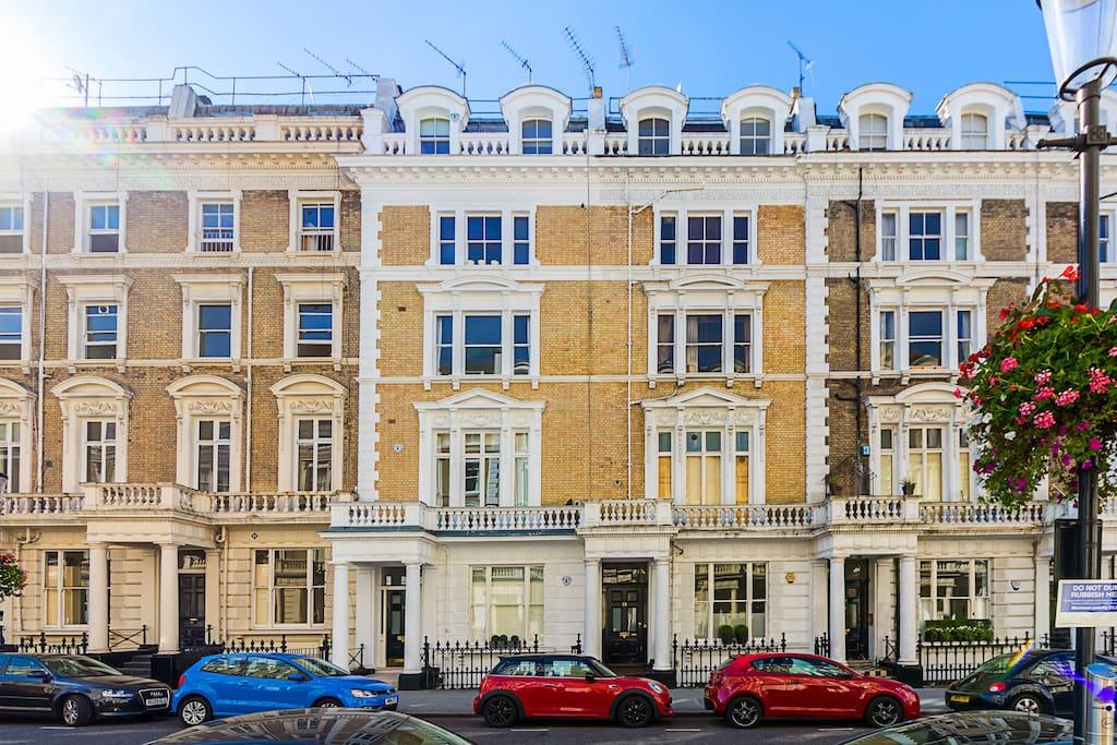 Exterior of Clanricarde Gardens Apartment, Bayswater, London