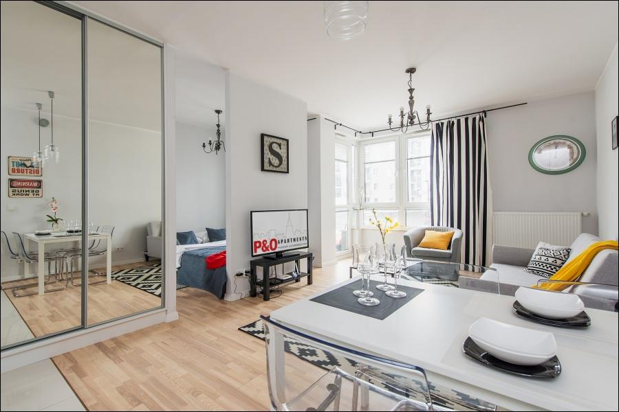 Living area at Klobucka Street Apartment, Wyczółki, Warsaw