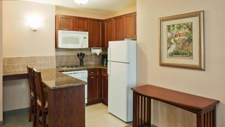 Compact kitchen in Staybridge Suites Oakville Burlington