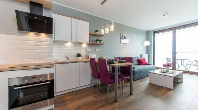 Living area at Ordona Street Apartment, Odolany, Warsaw
