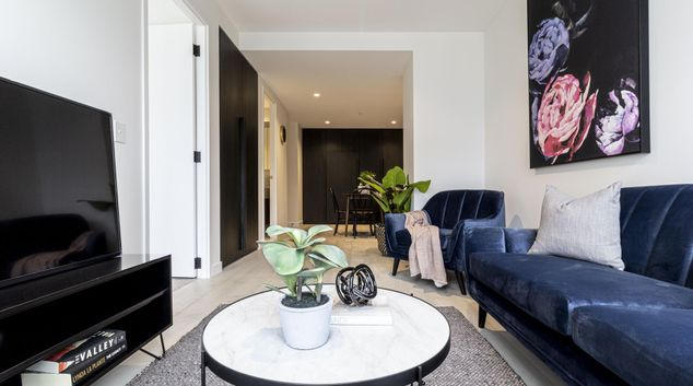 Living area at The Collins Apartments, Centre, Melbourne