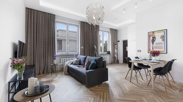 Living area at Marszalkowska Street Apartment, Ujazdów, Warsaw