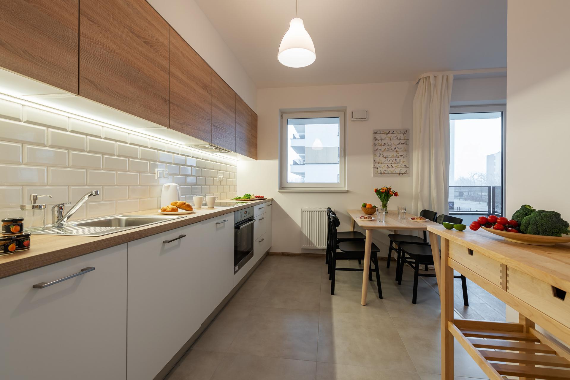 Kitchen at Cybernetyki Apartments, Sluzewiec, Warsaw