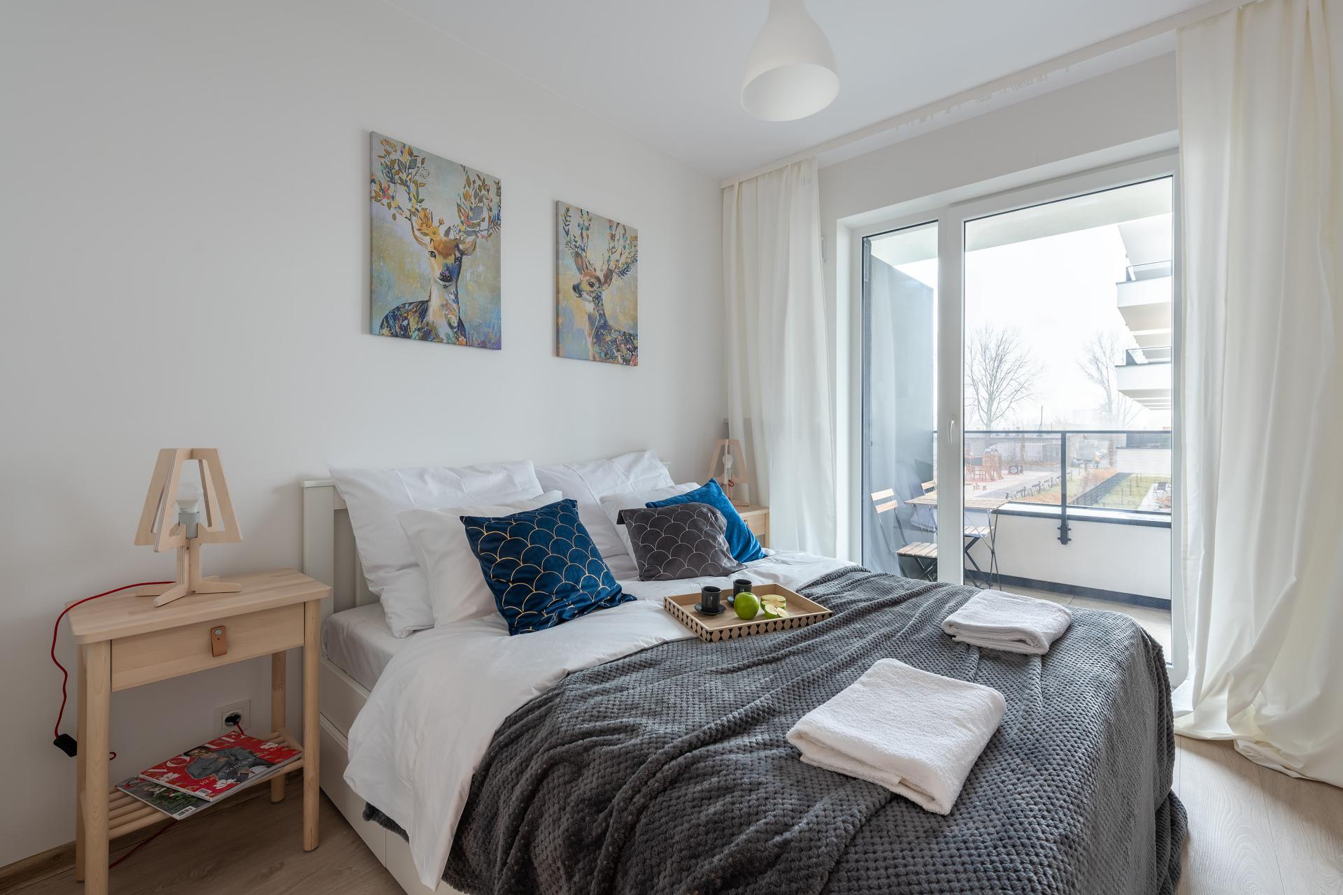 Bedroom at Cybernetyki Apartments, Sluzewiec, Warsaw