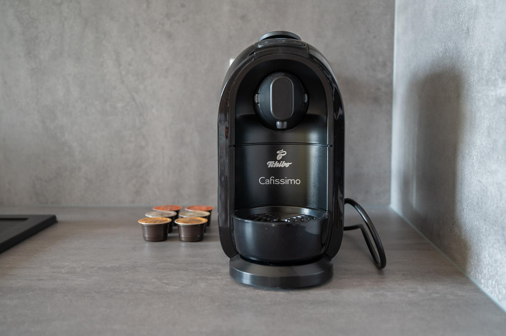 Coffee machine at Cybernetyki Apartments, Sluzewiec, Warsaw