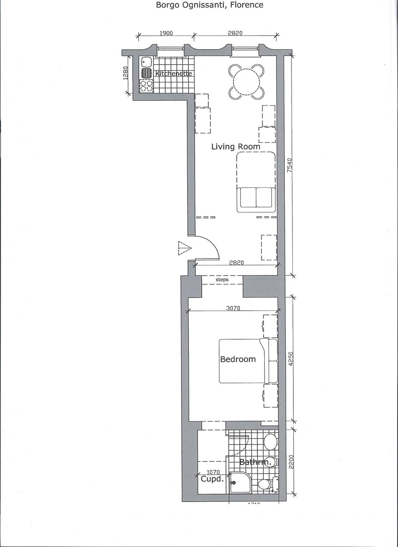 Floor plan for Borgo Ognissanti Apartment, Centre, Florence