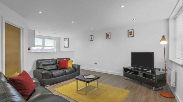Living area at The Jewellery Suites, Jewellery Quarter, Birmingham