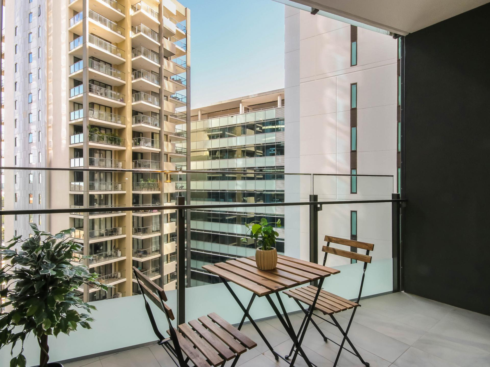 Balcony at The Mary Street Apartment, Frog's Hollow, Brisbane