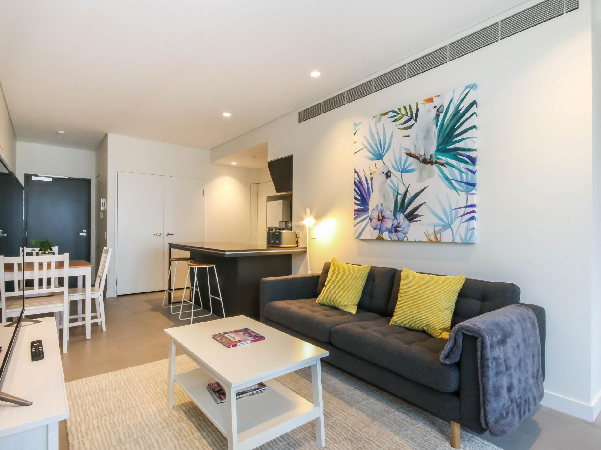 Open-plan at The Mary Street Apartment, Frog's Hollow, Brisbane