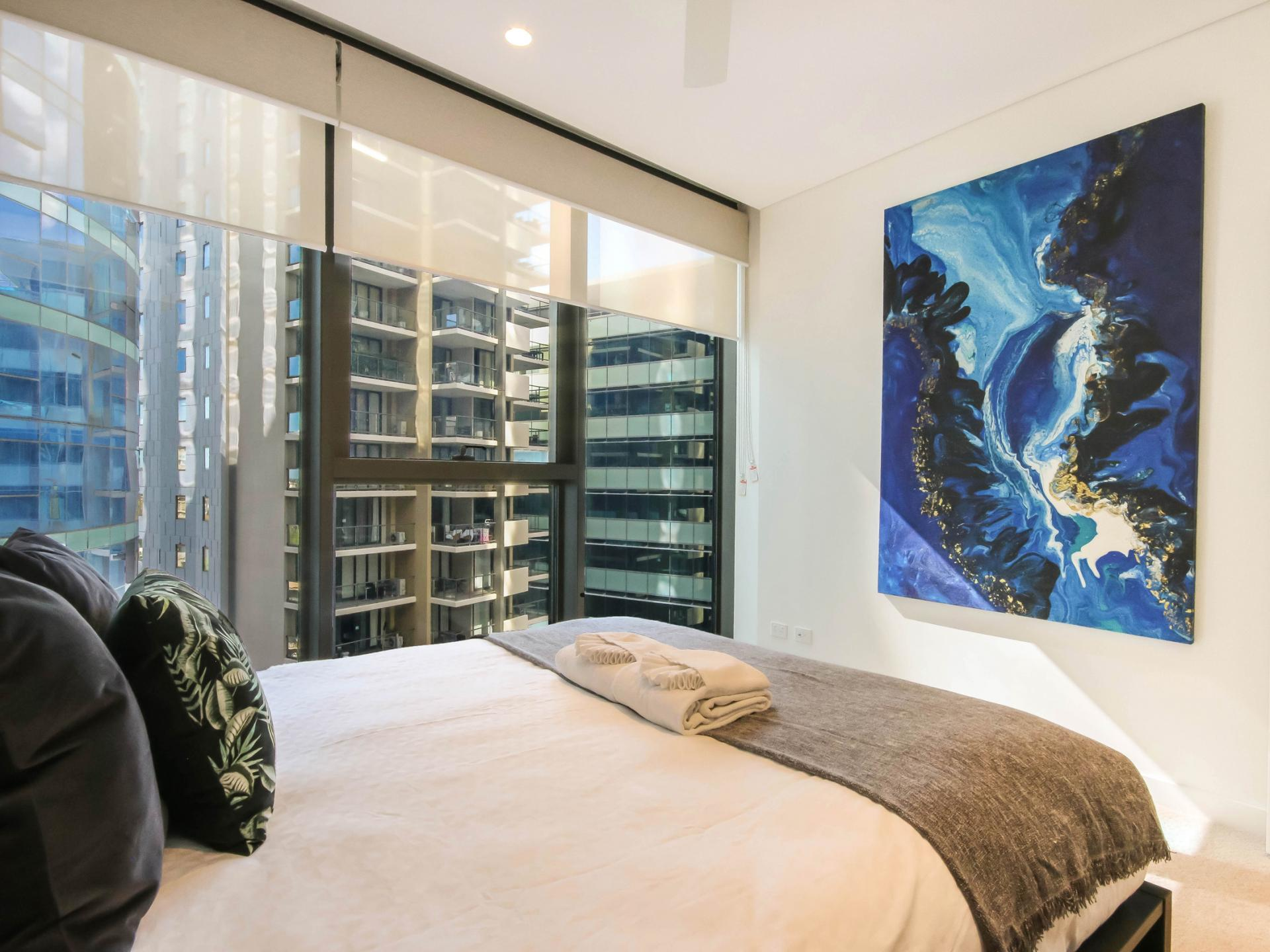 Bed at The Mary Street Apartment, Frog's Hollow, Brisbane