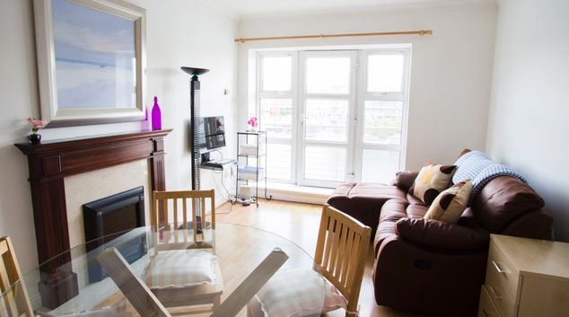 Living area at The Waterside Grand Canal Apartment, Grand Canal Dock, Dublin