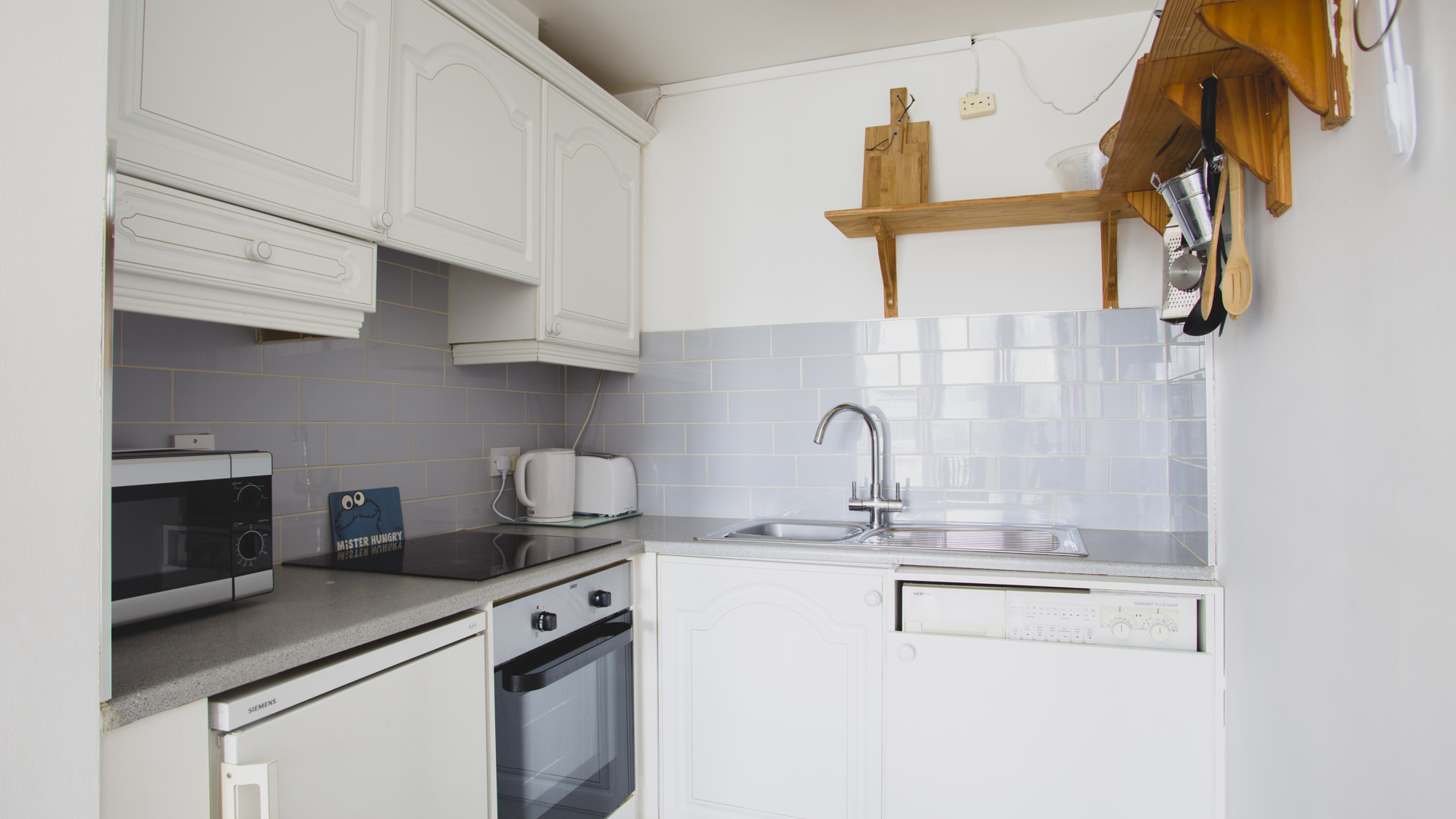 Modern kitchen at The Waterside Grand Canal Apartment, Grand Canal Dock, Dublin