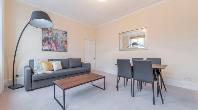 Living area at Dartmouth Place Apartments, Dartmouth Park, London