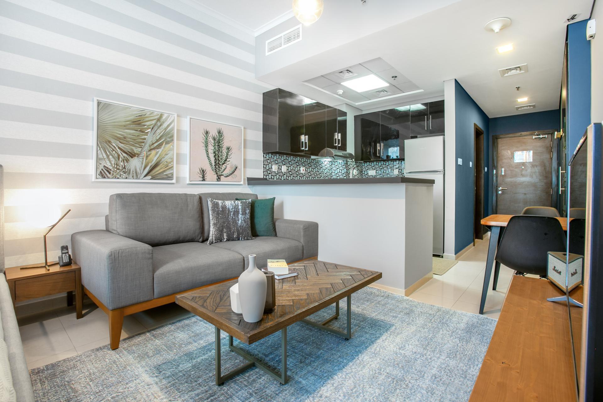 Living area at Botanica Studio, Dubai Marina, Dubai