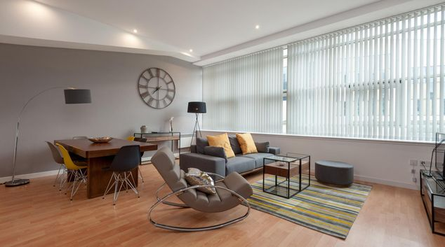 Living area at Herald Apartment, Merchant City, Glasgow