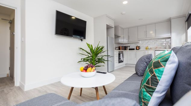 Living area at The Brick Lane Apartments, Hackney, London