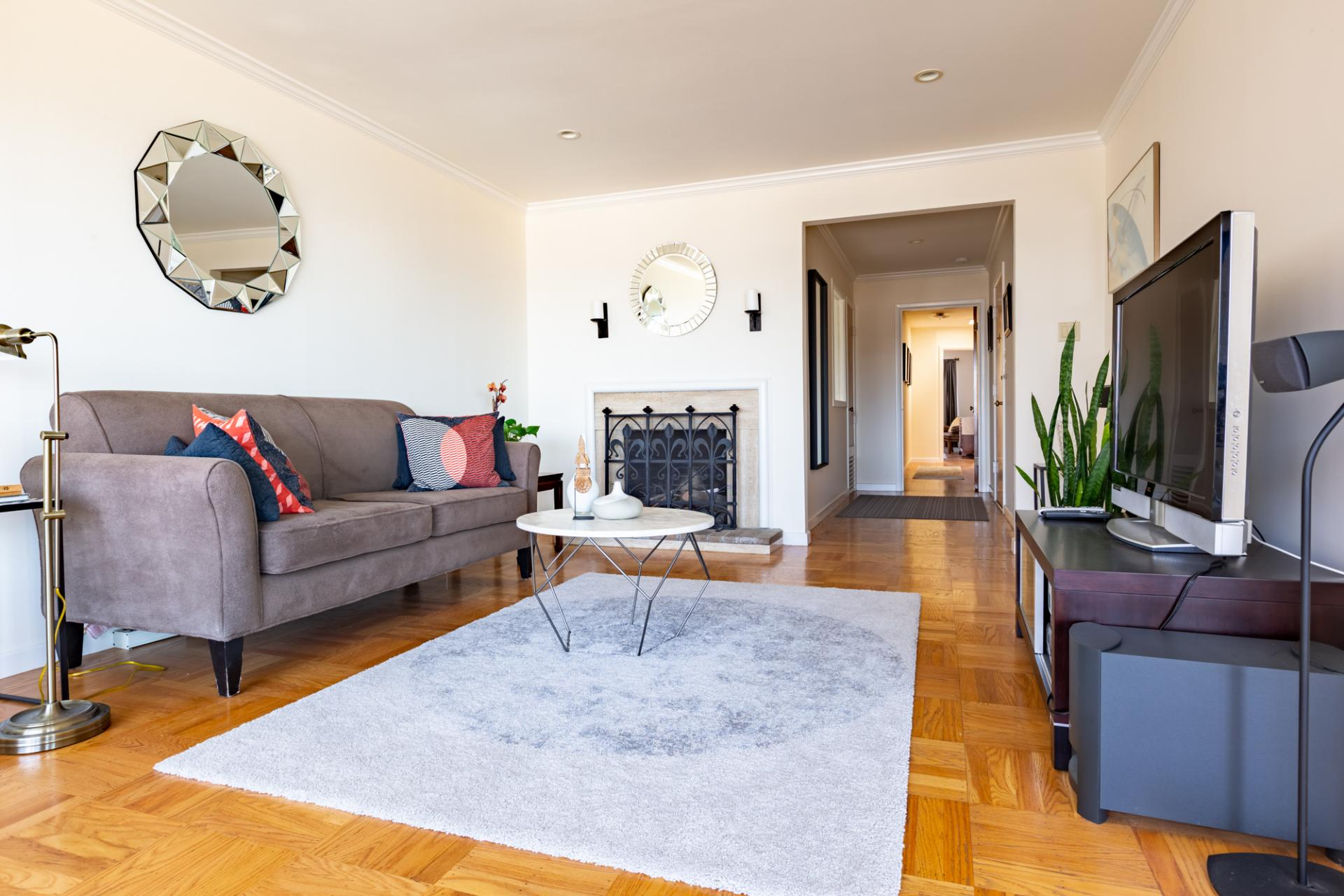 Living area at Leavenworth Street Apartment, Russian Hill, San Francisco