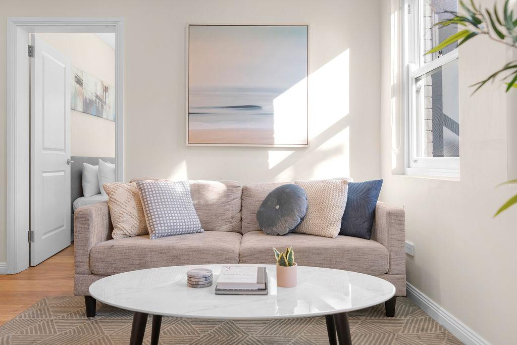 Living area at The Seymour Apartments, Paddington, Sydney