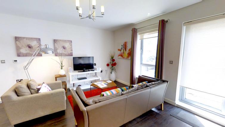 Living area at Kaleidoscope Apartments