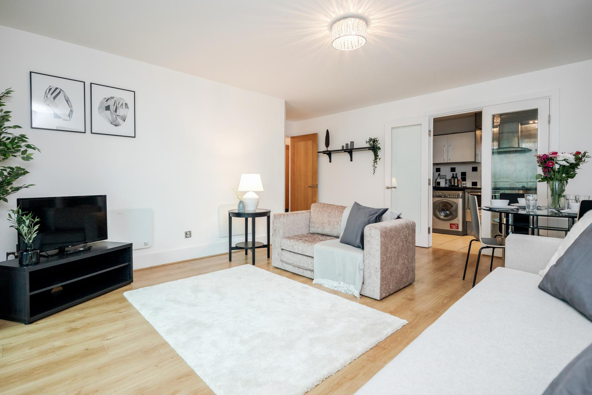 Living area at St Georges Wharf Apartment, Vauxhall, London