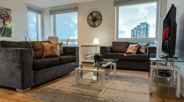 Living area at East Bank Towers, New Islington, Manchester