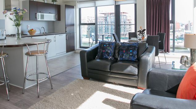 Living area at Grand Canal Butlers Court Apartments, Beggar's Bush, Dublin