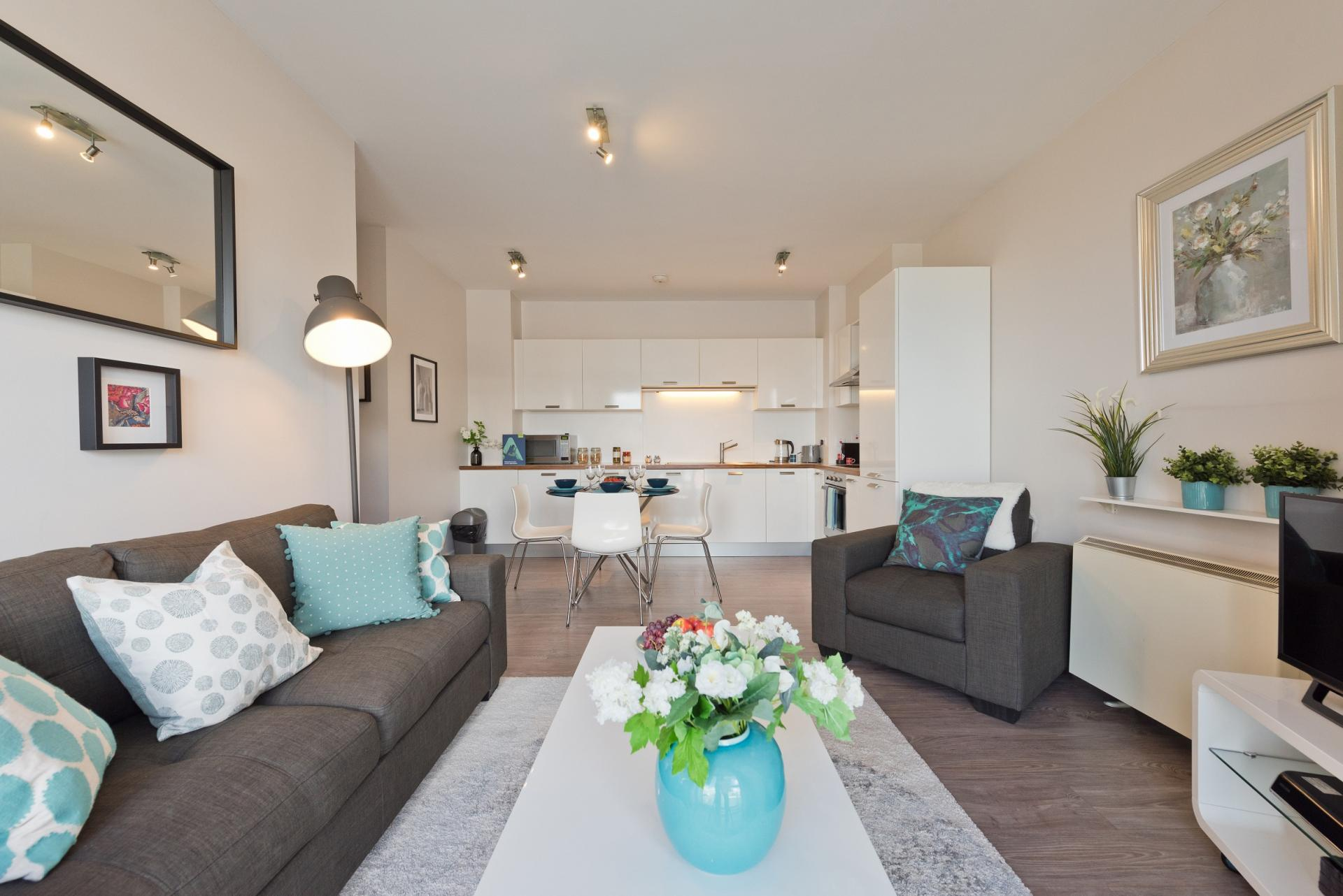 Living room at Grand Canal Wharf 4 Apartment, Ringsend, Dublin