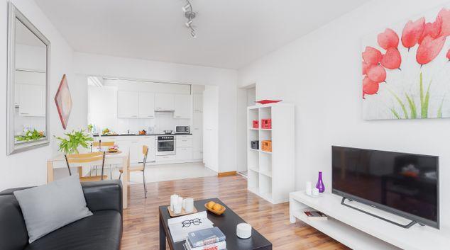 Living area at Oerlikon Station Apartments, Oerlikon, Zurich